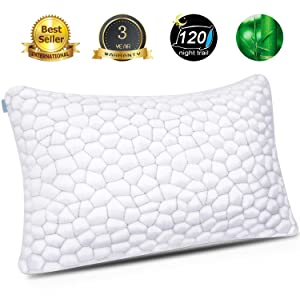 SUPA MODERN Bamboo Pillow Cool Bed Pillows for Sleeping Adjustable Gel Shredded Memory Foam Pillow with Bamboo Pillow Cover Hypoallergenic - Premium Adjustable Loft - Queen Sleeping Pillow