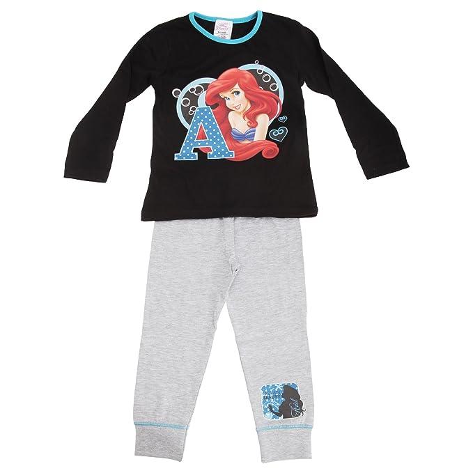 38badafdf4 Disney Princess Ariel - Pigiama Maglietta Manica Lunga e Pantaloni - Bambina  (7-8 anni) (Nero/ Grigio): Amazon.it: Abbigliamento