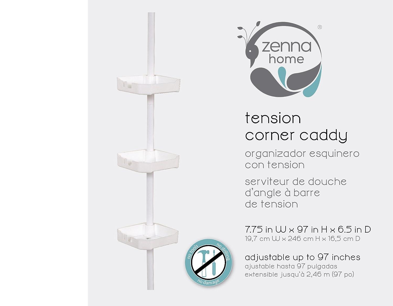Amazoncom Zenna Home W Tension Corner Pole Caddy White - Corner garden tub dimensions
