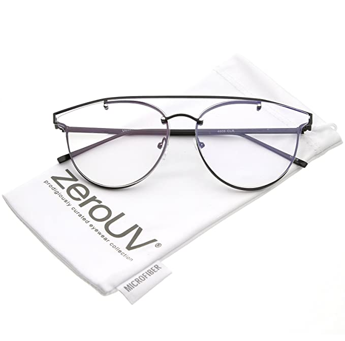 85ce20924cd zeroUV - Modern Crossbar Horn Rimmed Clear Round Flat Lens Rimless  Eyeglasses 58mm (Black