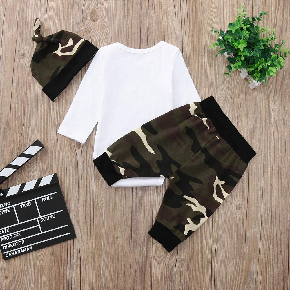Hut Kleidung Set Webla Neugeborene Baby Jungen Ladies I Have Arrived Brief Drucken Langarm Strampler Tops 0-24 Monate Camouflage Hosen