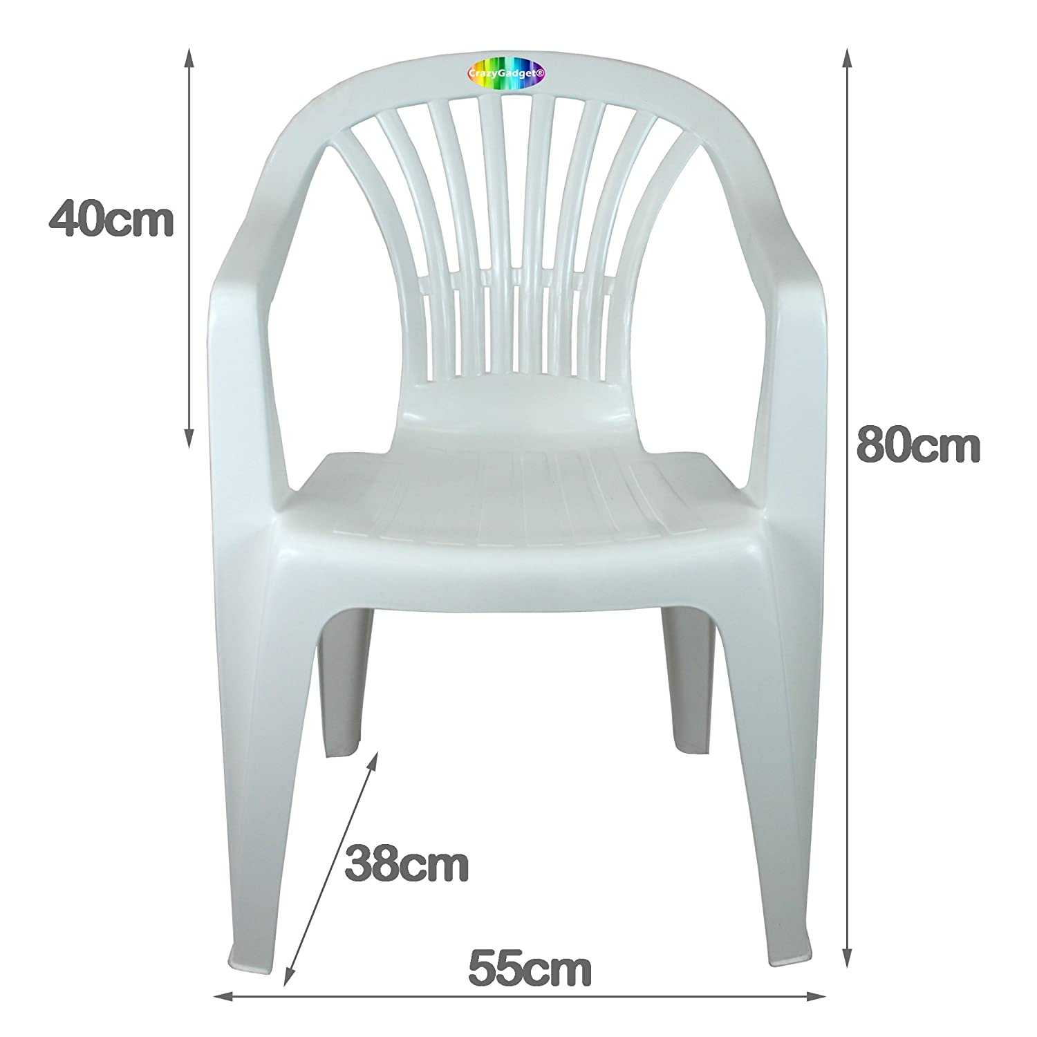 a35dea12a33f CrazyGadget® Plastic Garden Low Back Chair Stackable Patio Outdoor Party  Seat Chairs Picnic White: Amazon.co.uk: Garden & Outdoors