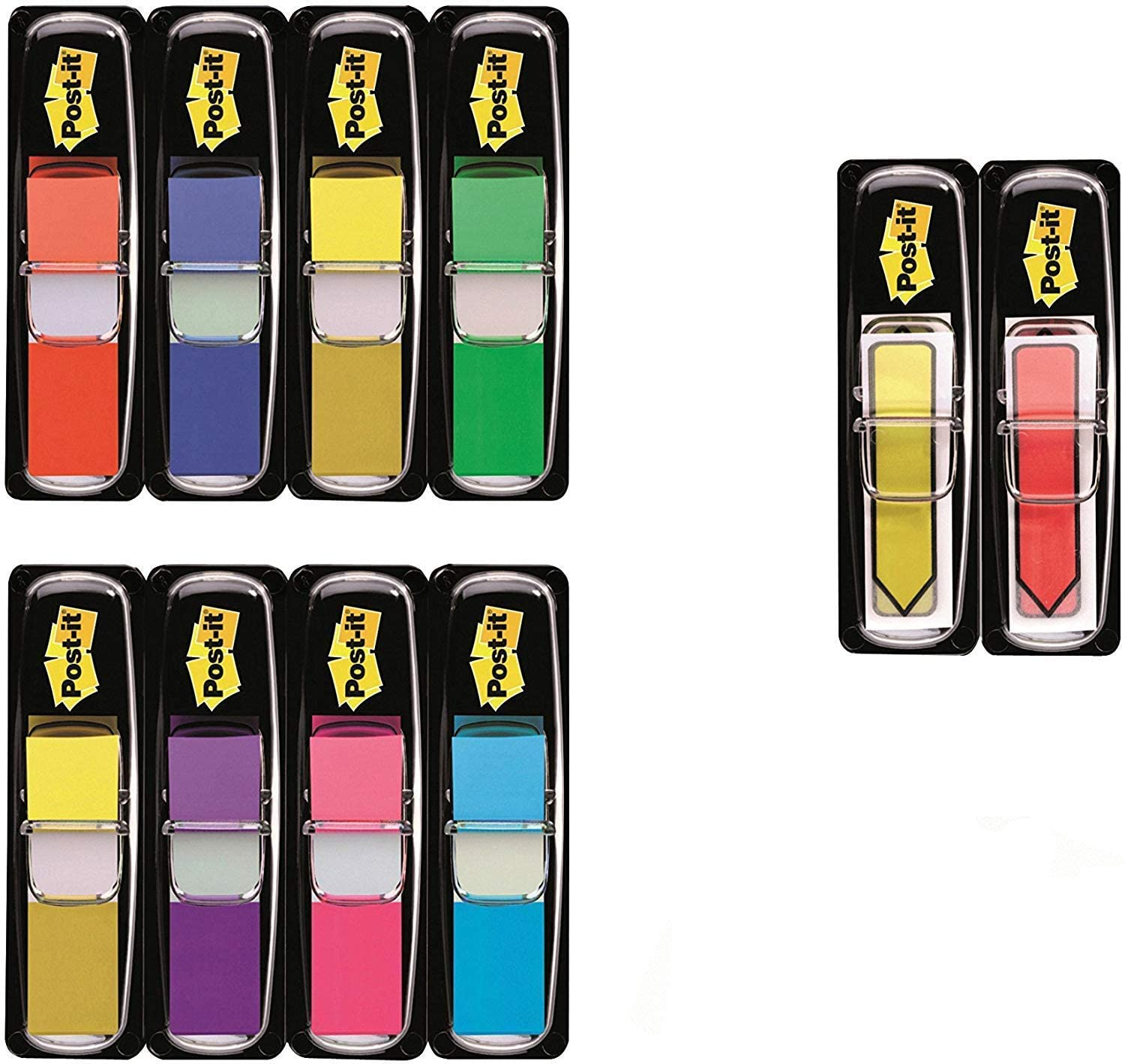 3M Post-It Index Mini Promotion - 8 x 35 Marcadores adhesivos, 2 x 24 Post-it Index flechas adhesivas 43.2 x 12 mm – colores surtidos