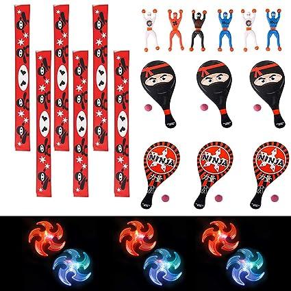 24 PC Ninja Party Pack Ninja Party Favors - Paddle Balls, Slap Bracelets, Ninja Wall Climbers, Light Up Ninja Stars