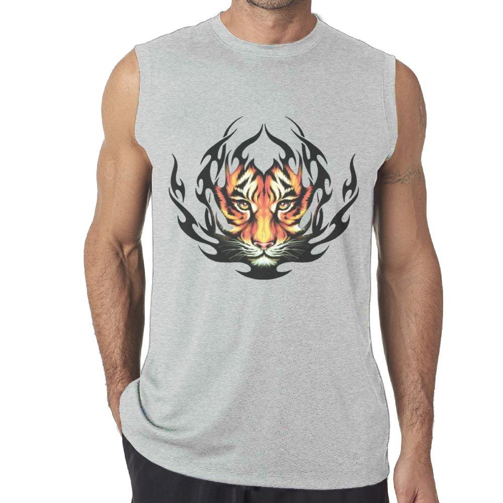 Riokk Az Fashion Firing Tiger Casual Pretty Sleeveless Tanks Top Shirts Fit Mens