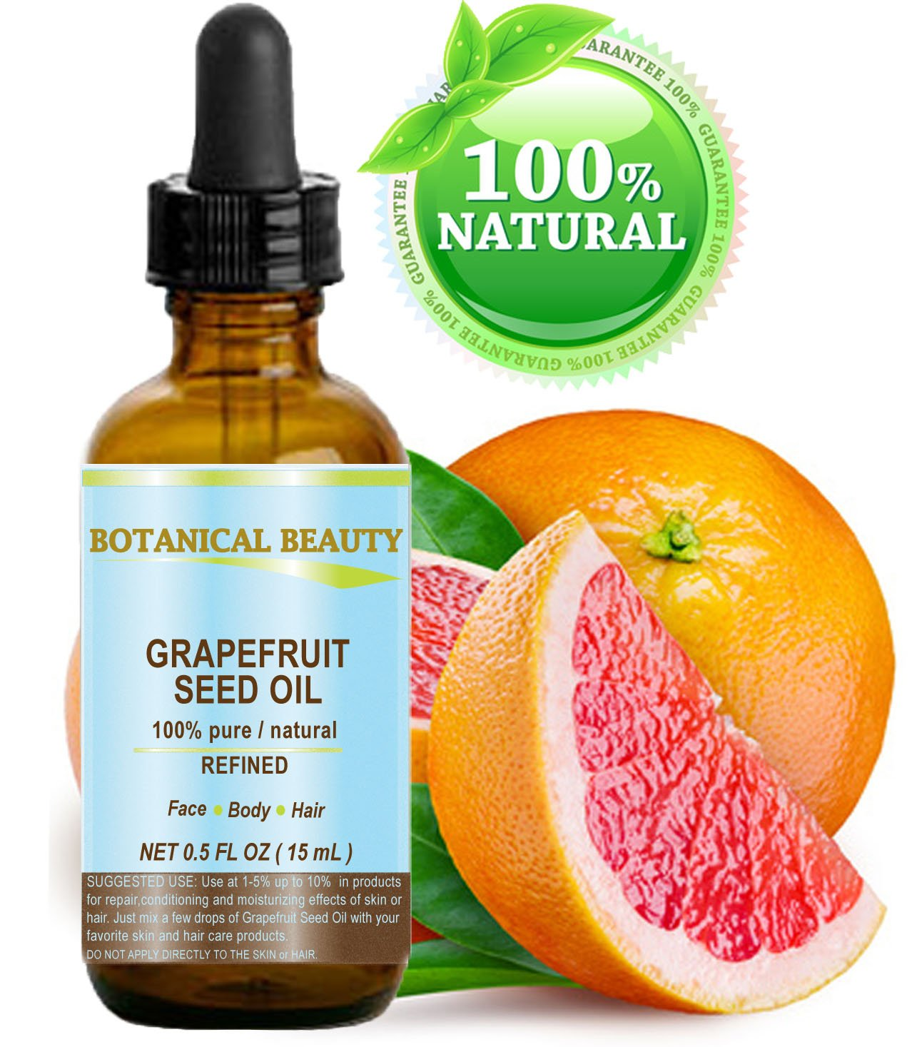 "Botanical Beauty GRAPEFRUIT SEED OIL. 100% Pure / Natural / Undiluted /Refined Cold Pressed Carrier Oil. 0.5 Fl.oz.- 15 ml. For Skin, Hair And Lip Care. ""One Of The Richest Natural Sources Of Vitamin A ,C & E And Natural Fruit Enzymes."""