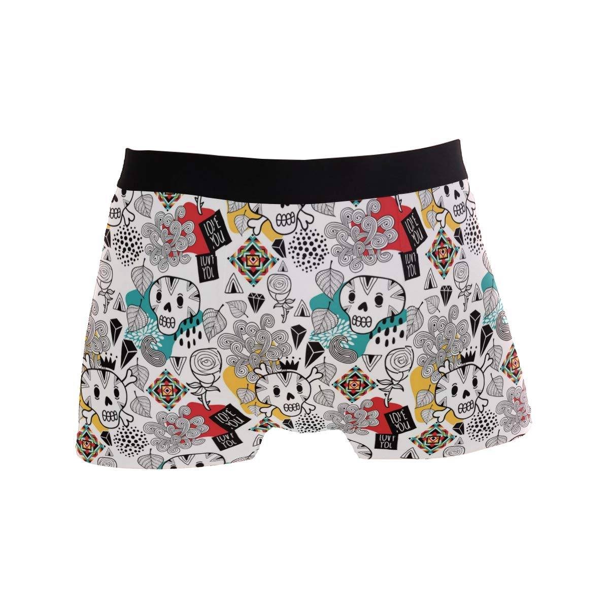Charlley Lee Mens Soft Breathable Doodle Skulls and Romantic Underwear Boxer Briefs