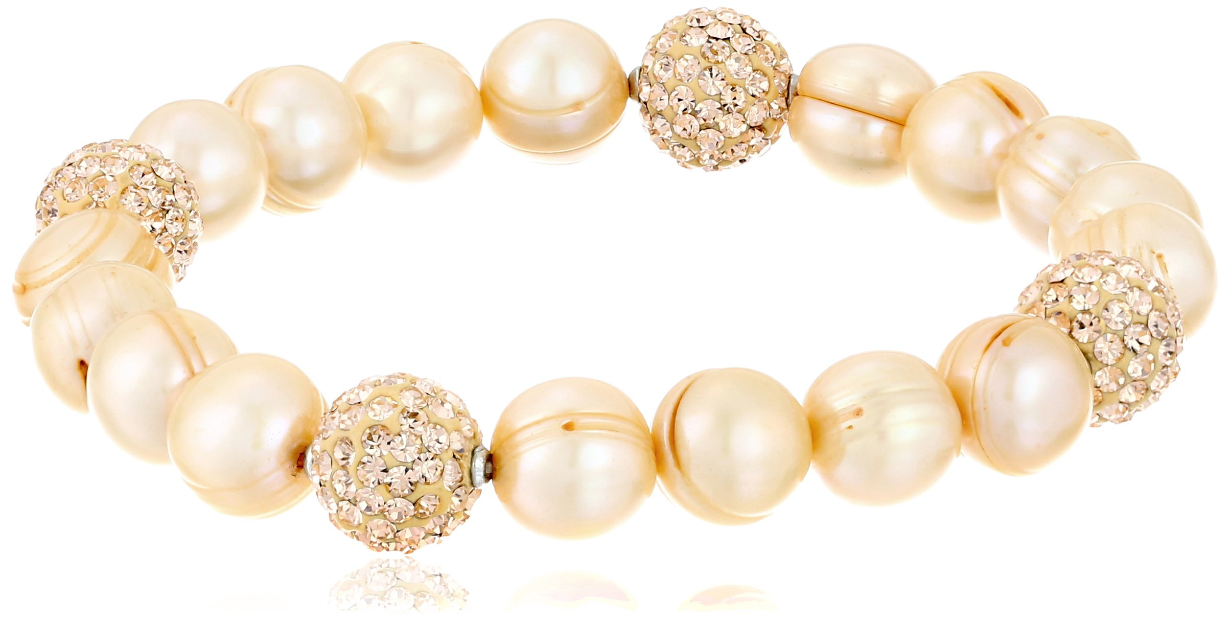 Honora ''Pop Star'' Champagne Freshwater Cultured Pearl and Crystal 7.5'' Stretch Bracelet