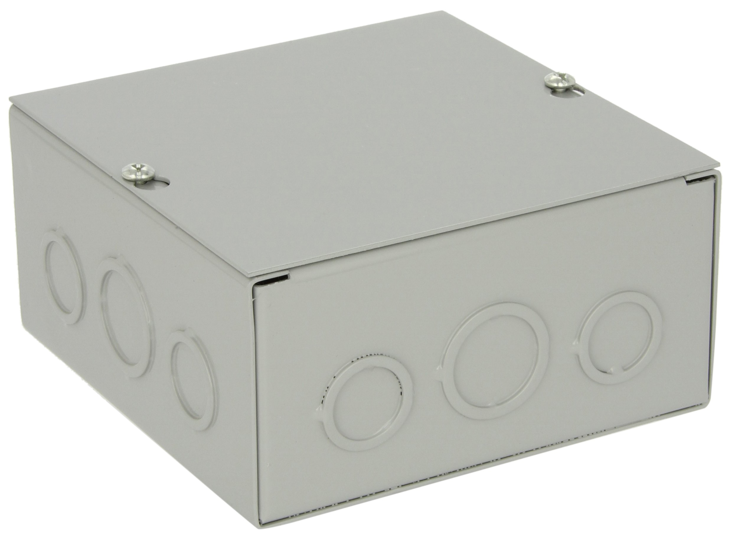 BUD Industries JB-3954-KO Steel NEMA 1 Sheet Metal Junction Box with Knockout and Lift-off Screw Cover, 6'' Width x 6'' Height x 3'' Depth, Gray Finish