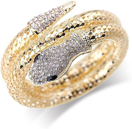 Retro Oro Plata Stretch Wrap Diamantes de Imitación de Cristal Serpiente Brazalete Regalo
