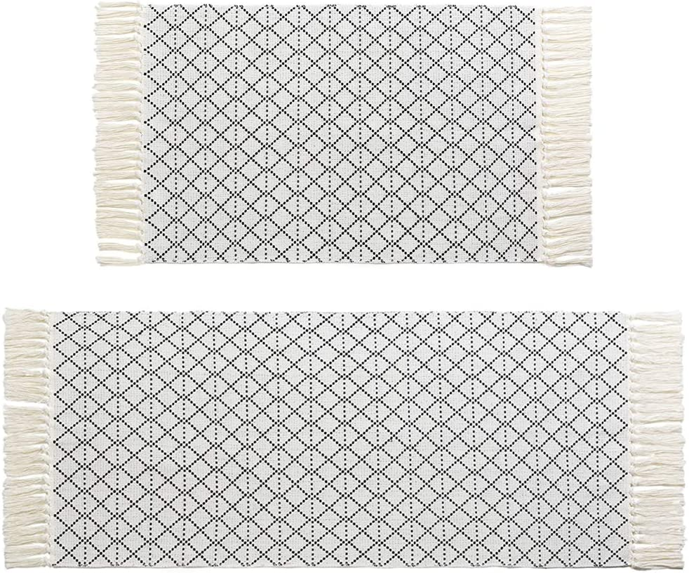Boho Tassel Bathroom Rug Set Black White Bath Mat Kitchen Rug 2 Piece 4.2'x2'+3'x2', Woven Cotton Washable Throw Runner Rug Moroccan Tribal Area Rug for Laundry Room Bedroom Entryway