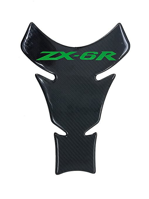 9.8 inches Real Carbon Fibers Green 3D Sticker Vinyl Decal Emblem Protection Gas Tank Pad For KAWASAKI ZX6R All