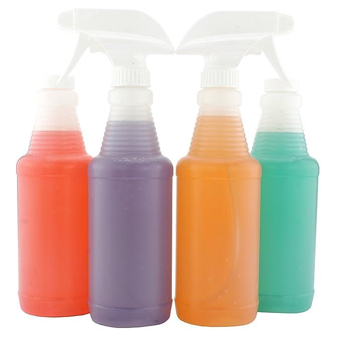 Jarra estilo plástico spray Botellas w/Heavy Duty Mist pulverizador de & Stream (Pack de 4 unidades); 3-setting ajustable boquillas, pinta tamaño sin BPA ...