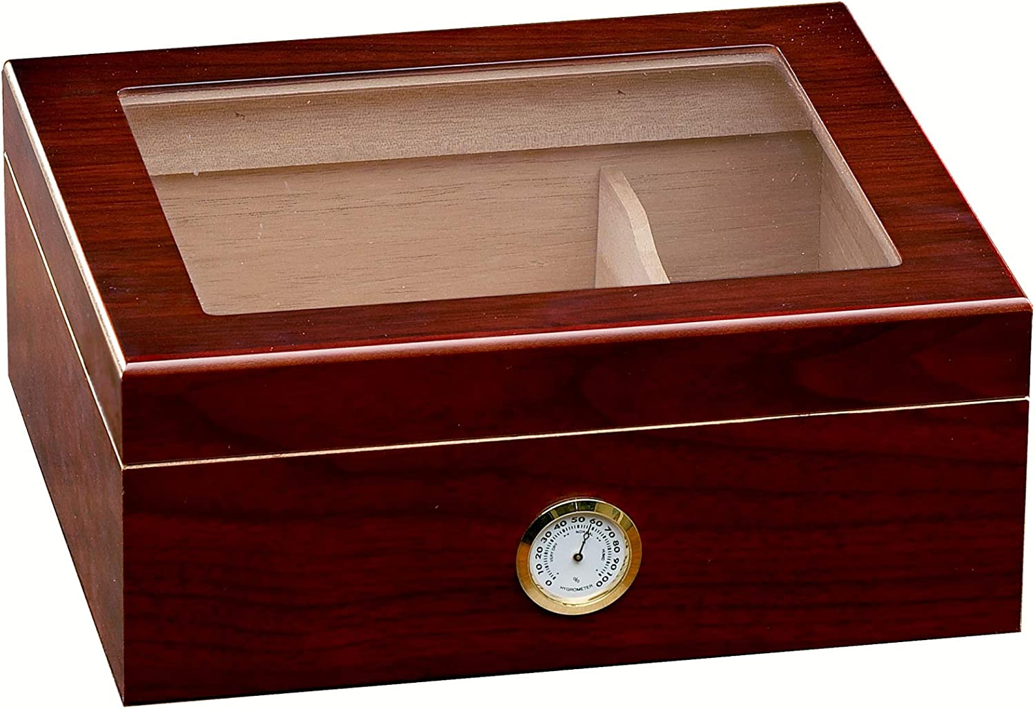 Prestige Import Group Chalet Glass Top Desktop Cigar Humidor with Hygrometer and Humidifier - Capacity: 20-50 - Color: Cherry
