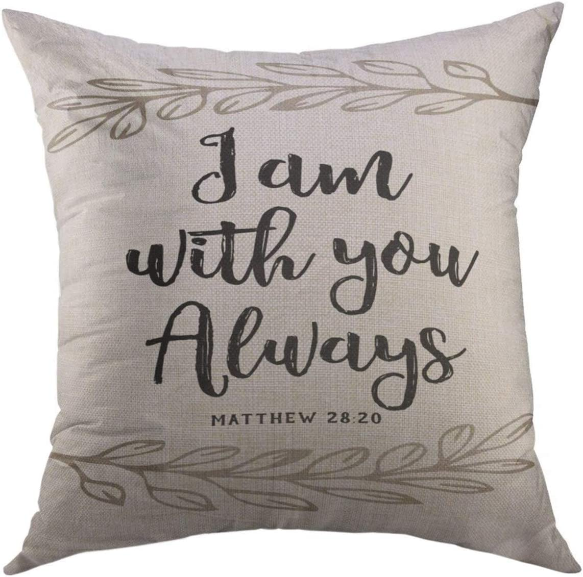Mugod Throw Pillow Cover Verse I Am You Always Bible Scripture Design Laurel Accents on White from Book of Matthew Jesus Home Decor Pillow case 18x18 Inch
