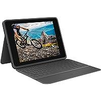 Logitech Rugged Folio iPad (7e generatie), Beschermende toetsenbordcase met Smart Connector en duurzaam morsbestendig toetsenbord, Zwart