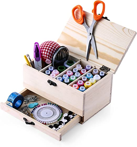 Caja de costura de cosecha de madera con el kit de costura Accesorios,Muzee Retrospectiva Woody costura cesta/organizador: Amazon.es: Hogar