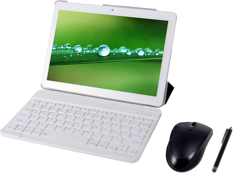 Tableta Android 9.0 3G, 4GB + 64GB, Tableta Android con Pantalla HD IPS de 10.0 Pulgadas, 2 Ranuras para Tarjetas SIM, Quad-Core, 1.3 GHz, Bluetooth, WiFi, GPS, cámara Dual, Blanco
