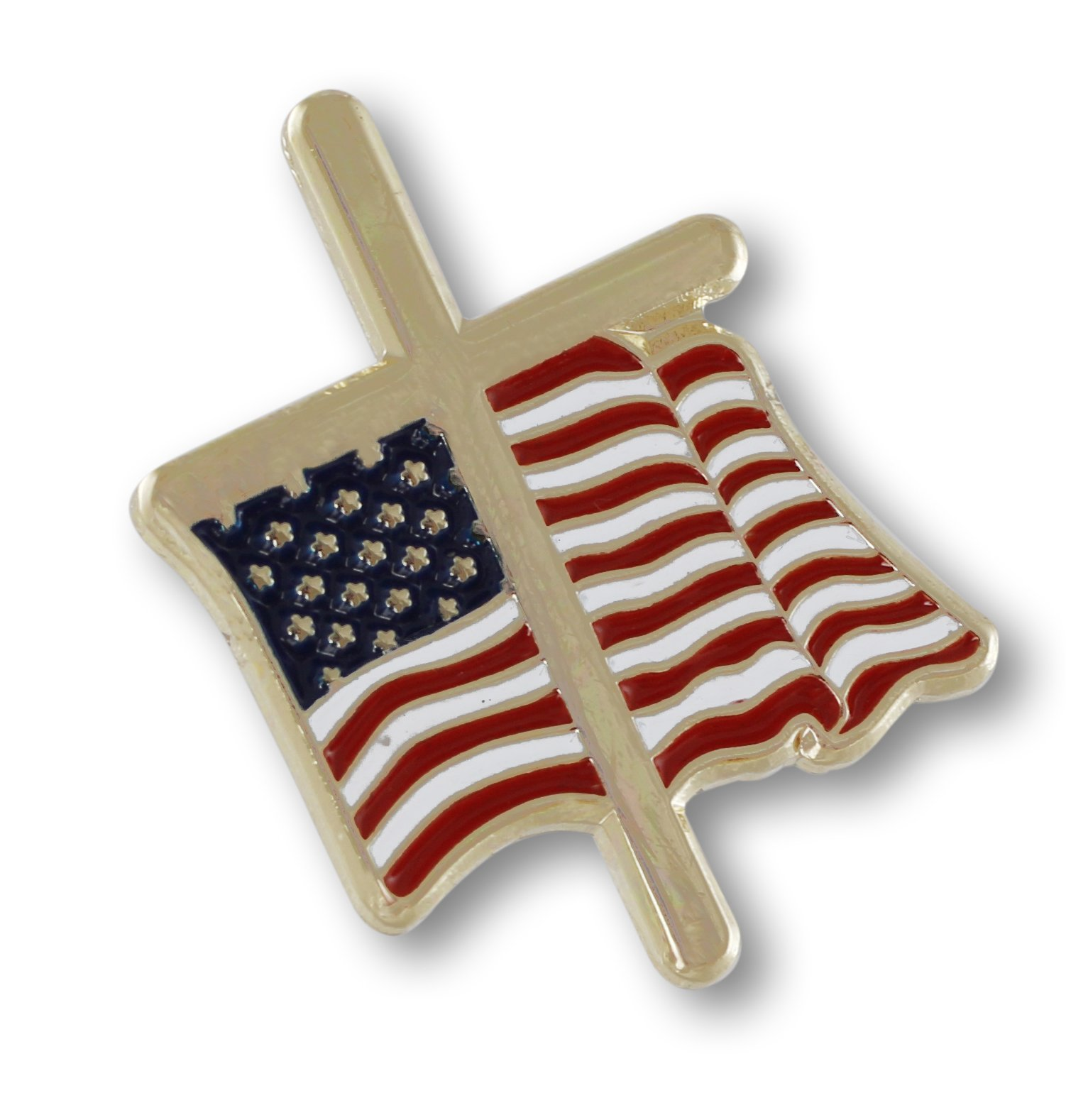 American Flag with Religious Cross Lapel Pin (50 Pins) by Forge (Image #3)