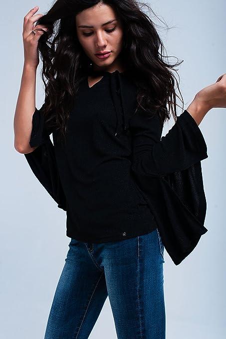 Q2 Mujer Camisa negra brillante - S: Amazon.es: Ropa y accesorios