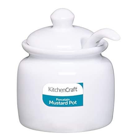 Amazon Com White Porcelain Mustard Pot With Lid And Spoon Kitchen