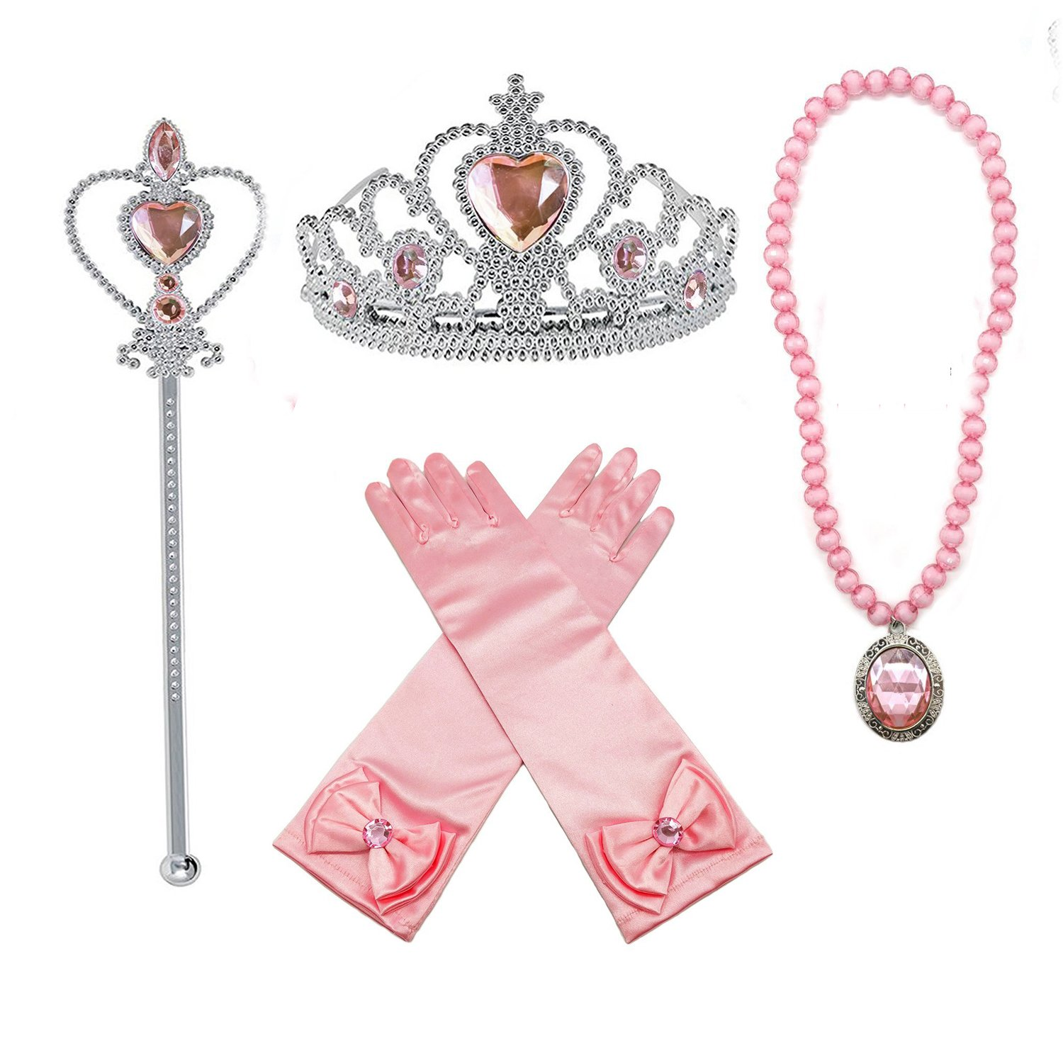 Orgrimmar Princess Dress up Accessories Gloves Tiara Crown Wand Necklaces Presents for Kids Girls (Yellow)