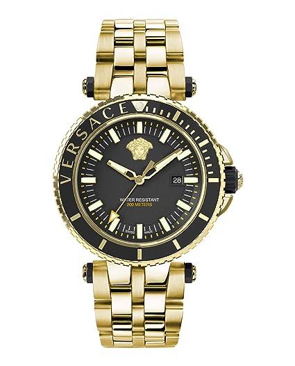 Versace VEAK00618 V-Race - Reloj de Pulsera para Hombre (Acero Inoxidable, indicador de Fecha), Color Dorado: Amazon.es: Relojes