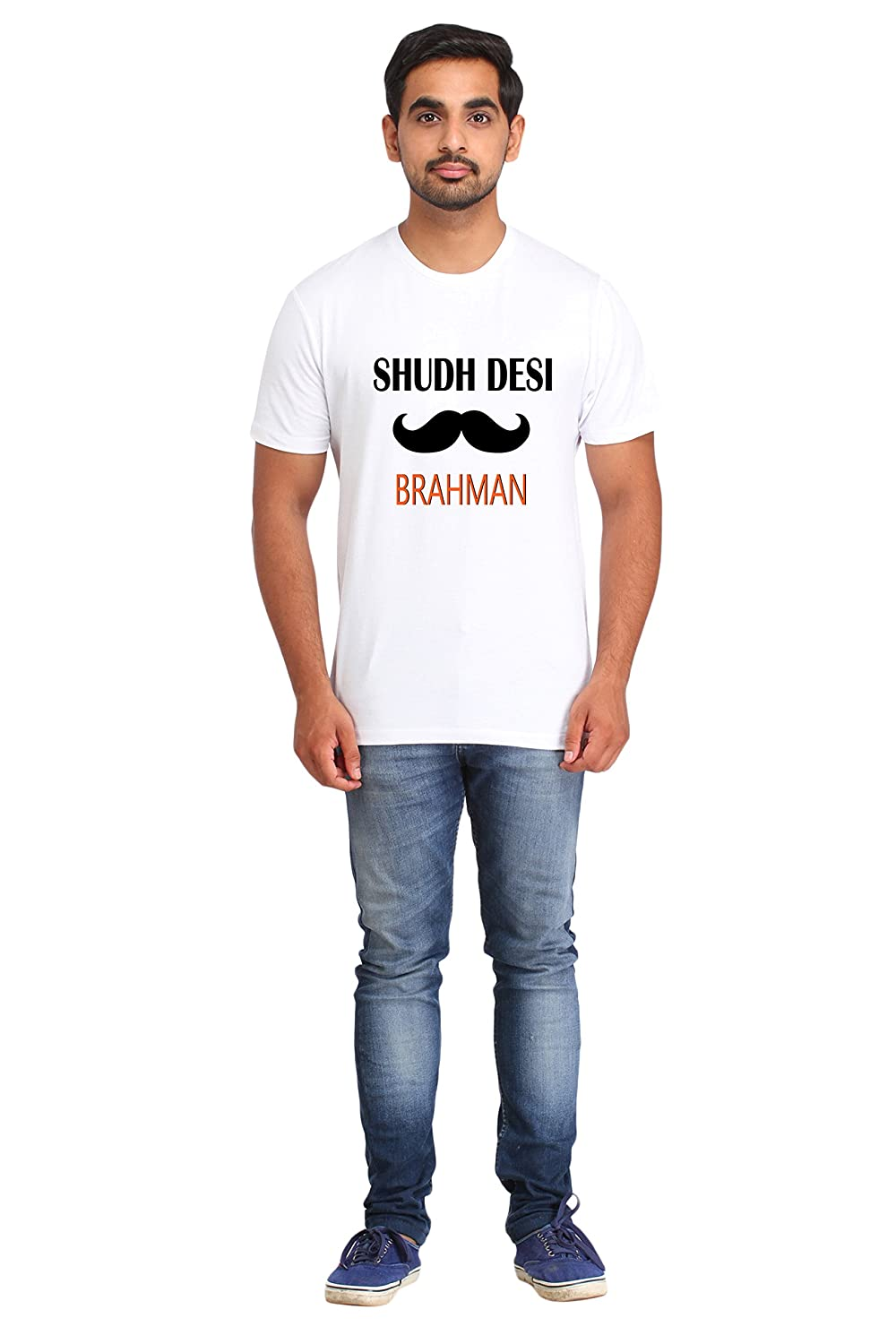 157c4db12 Snoby Sudh Desi Brahman Men's Polycotton Casual Tshirt(SRCWT_171_White):  Amazon.in: Clothing & Accessories