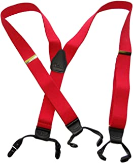 product image for Holdup Brand USA made Fire Engine Red Dual Clip Double-Up style Y-back Suspenders with patented No-Slip black clips