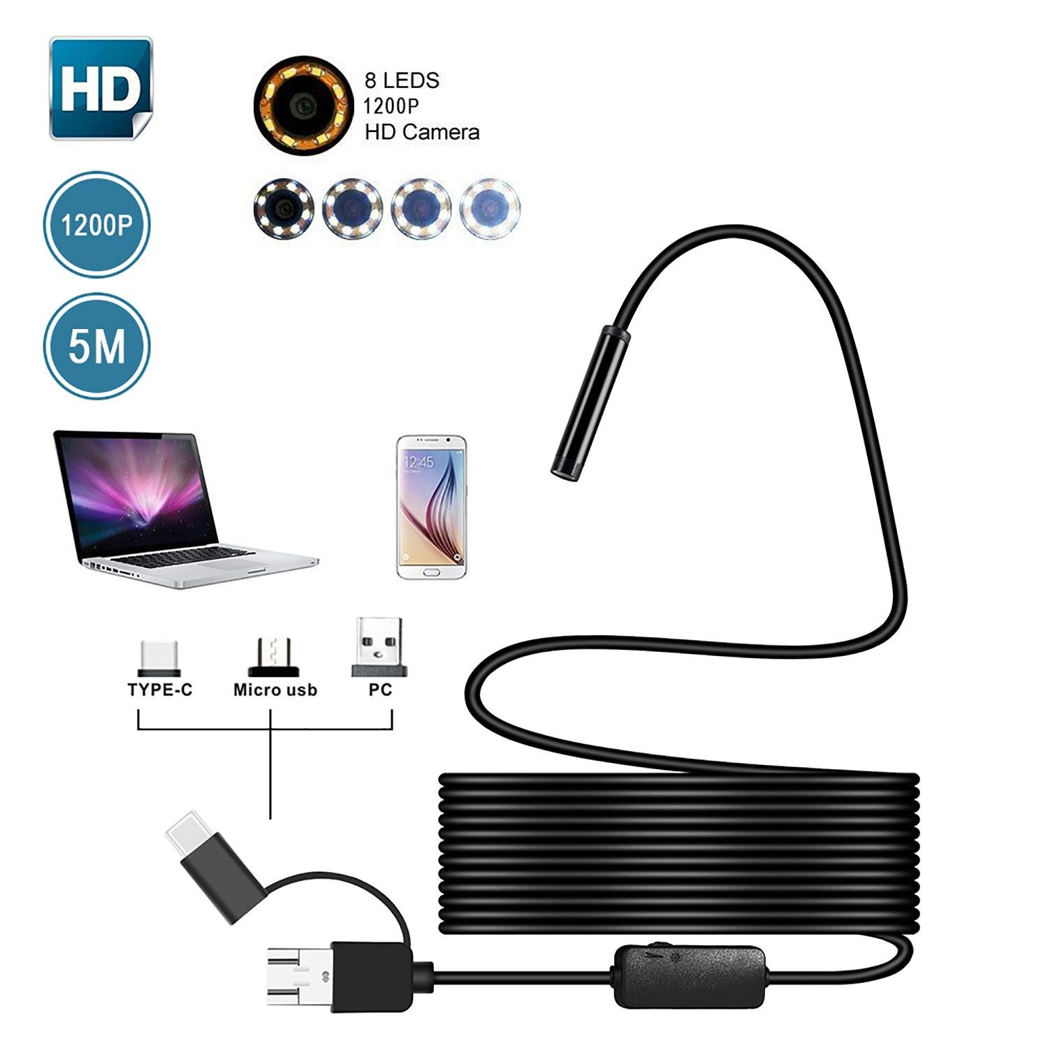USB Endoscope Semi-rigid Waterproof 3 in 1 Probe Borescope 1200P HD with 8 Adjustable LED Lights Waterproof Snake Sewer Camera for Android Windows /& MacBook Device KOBWA Endoscope for Android