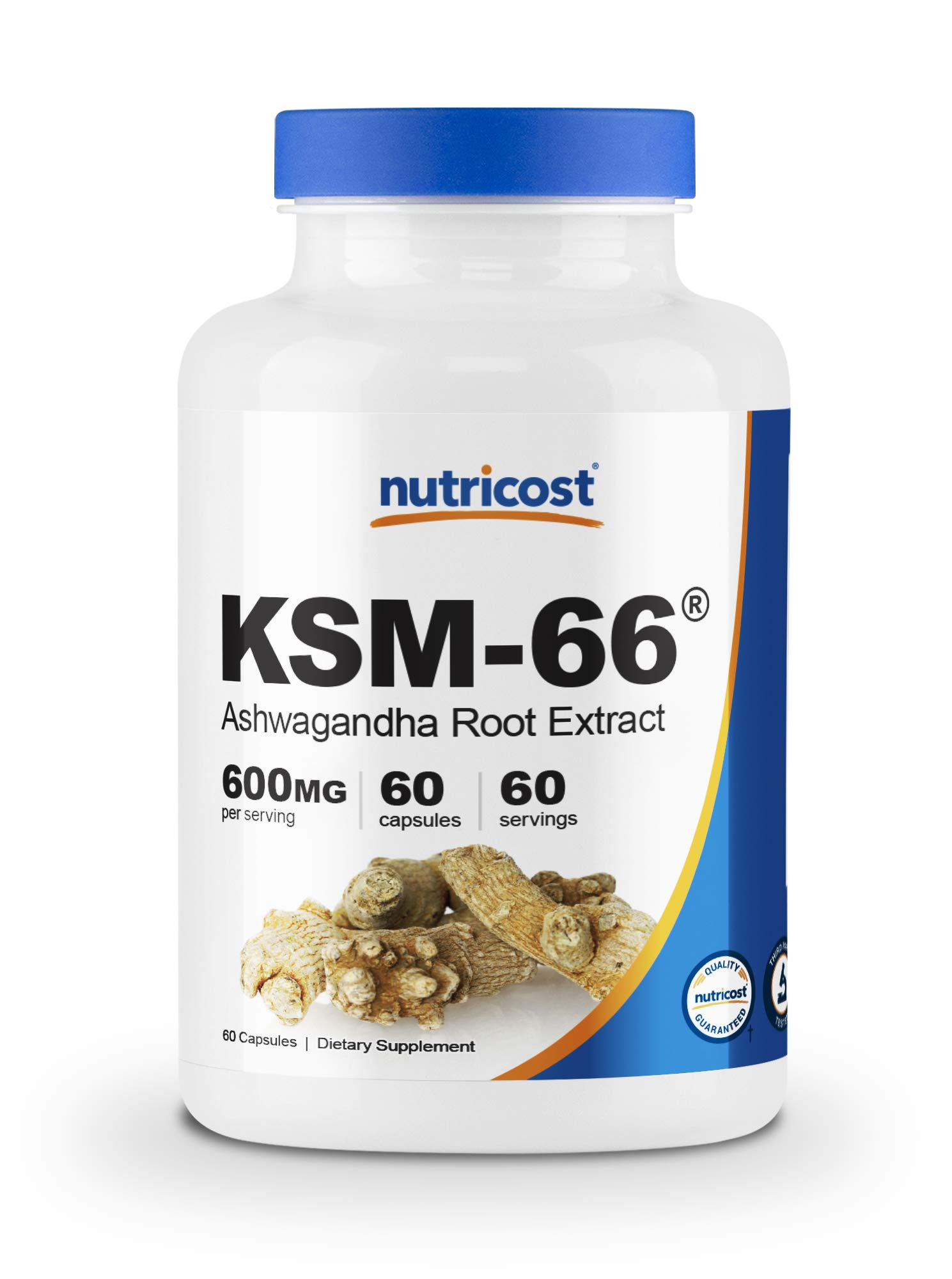 Nutricost KSM-66 Ashwagandha Root Extract 600mg, 60 Veggie Caps - High Potency 5% Withanolides - with BioPerine - Full-Spectrum Root Extract