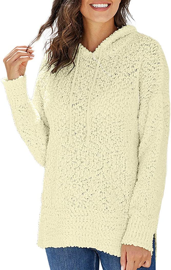 watersouprty Womens Knitted Long Sleeve Casual Loose Hooded Pullover Tops Sweatshirt