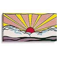 Cuadro decorativo de canvas (lienzo), Atardecer de Lichtenstein - Pop Art & niños, montado en bastidor de madera de 4.5 cm de profundidad (estilo galería). Tamaños adicionales disponibles. Perfecto para decorar casa u oficina, y especial para niños & dormitorio & oficina. 100% Garantizado.