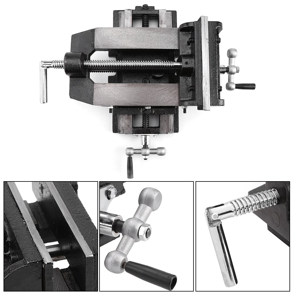 6 inches Cast iron Cross Slide Drill Press Vise Metal Milling Vice Holder Clamping Bench Mount 15Kg//33lbs Machine Vise