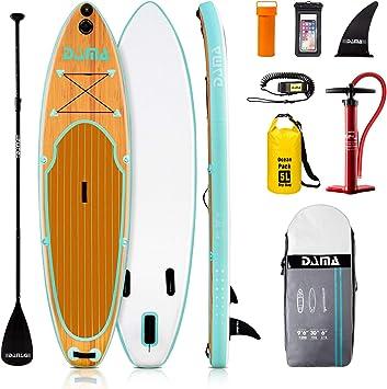 Dama tabla de paddle hinchable, tabla de paddle sup, puntada y PVC, tabla de viaje, aleta, bomba de mano, correa, kit de reparación, para surf o acolchado.