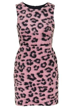 Topshop Fluffy Leopard Animal Print Mini shift Dress Pink UK 8 RRP £60