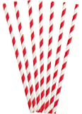 Cherry Striped Paper Straws Party Supplies (White/Red)