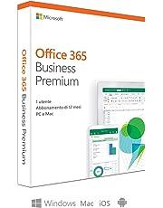 Microsoft Office 365 Business Premium | utilizzabile da 1 persona | fino a 5 PC/Mac + 5 dispositivi mobili + 5 tablets | 1 abbonamento annuale | scatola