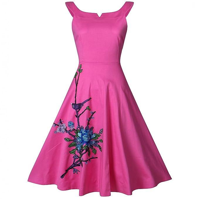 yazaco Picnic Plus tamaño Vintage vestidos dama de 1950 Rockabilly Swing Vestido De Fiesta Rosa hot