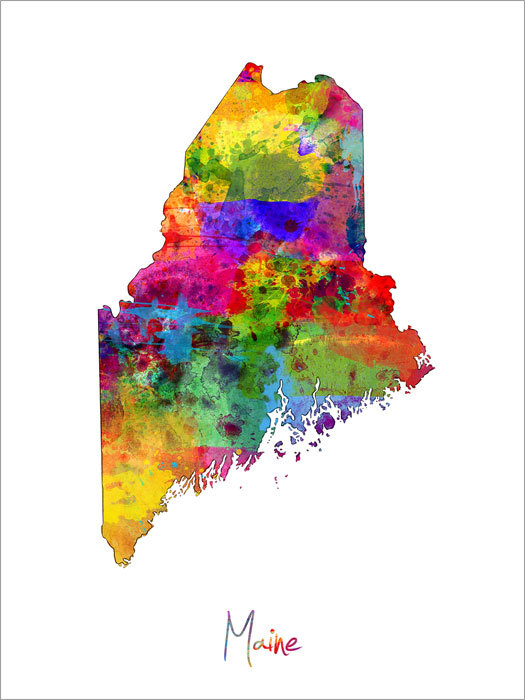 Maine Map USA Art Print 1180 by artPause on Etsy