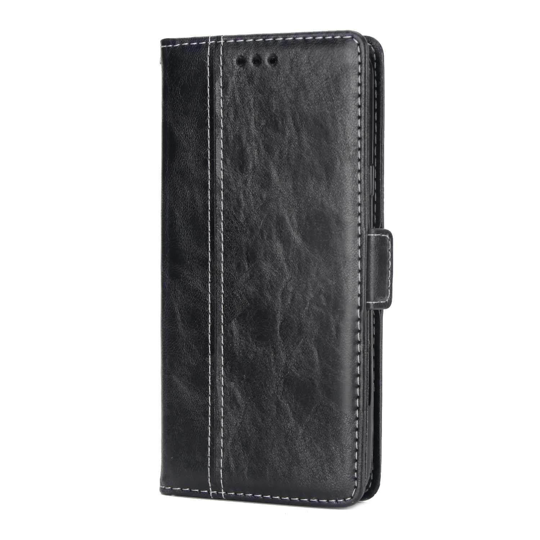 Coque Galaxy J7 DUO, SONWO Simple Rétro PU Cuir Flip Portefeuille de Protection Etui avec Rangements de Cartes et Fonction Stand pour Samsung Galaxy J7 DUO, Noir