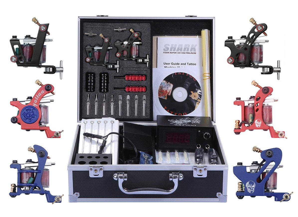 Shark Complete Pro Tattoo Kit 6 Gun Machines Carry Case With Key Power Supply 50 Needles 6 Grips Tips