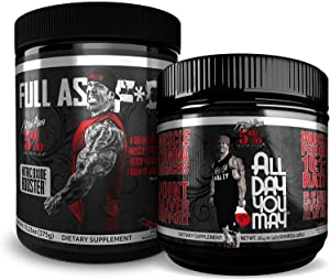 Rich Piana 5% Nutrition Bundle | All Day You May 10:1:1 BCAA Muscle & Joint Recovery Powder + FAF Overdosed Nitric Oxide Boosting Preworkout Powder (Fruit Punch)