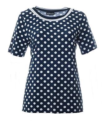 Seeyou Damen T-Shirt Gepunktet Blau Weiß für Große Größen Punkte Kurzarm  Oberteil, Größe d71a3c68d6