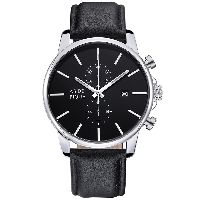 AS DE PIQUE Chrono Herren Luxus Armbanduhr Chronograph Leder Stoppuhr Datum 50m Wasserdicht silber