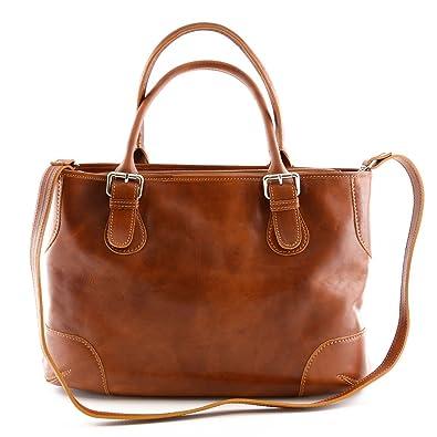 745b35215db51 Damen Echtes Leder Schultertasche Mit 2 Inneren Fächer Farbe Cognac -  Italienische Lederwaren - Damentasche
