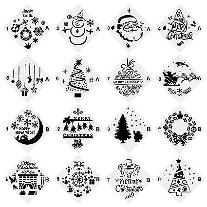 Christmas Stencils For Wood.Urlighting Christmas Stencils 16 Pcs Bullet Stencil Template Set Santa Claus Christmas Tree Jingling Bell Snowman Patterns For Card Wood Diy