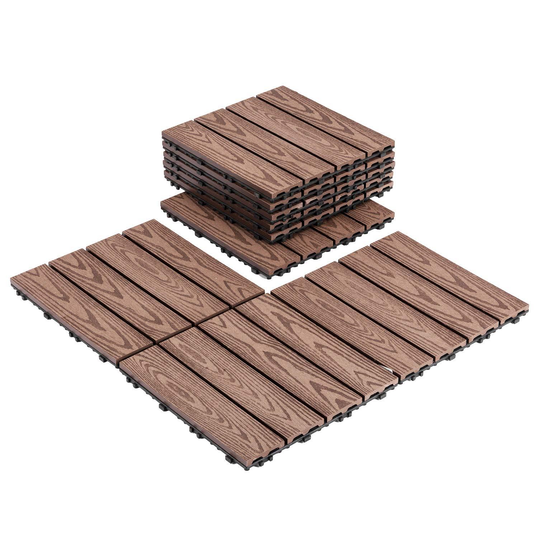 Matladin Easy Lock Wood Composite Decking Tiles Flooring,Interlocking Wood Grain Wood-Plastic Composites Water Resistant Outdoor Patio Pavers, 1x1FT, Pack of 9 Tiles
