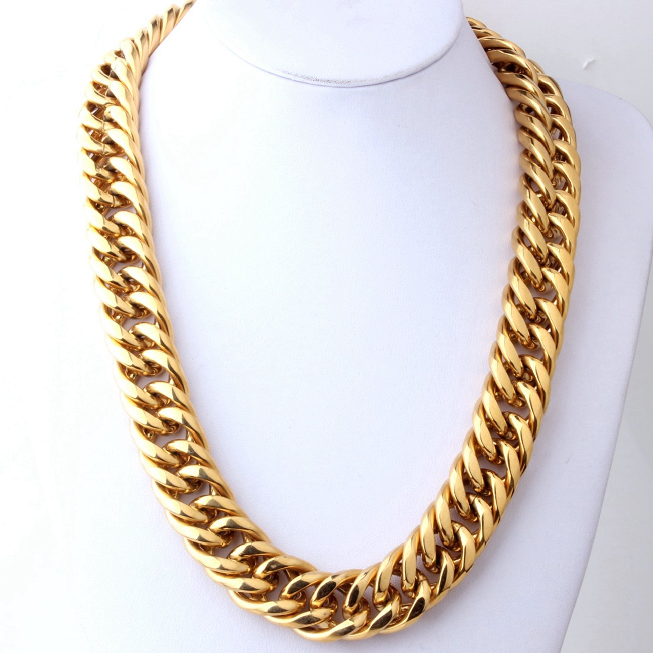Innovative jewelry Strong Mens Gold Plated Necklace Bracelet 22mm Stainless Steel Curb Link Chain,8-40