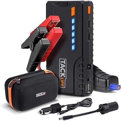 TACKLIFE T6 Arrancador de Coche -18000mAh 800A Real, 12 V Arrancador de Batería para vehículo con Pinzas Inteligentes, Luz LED, Carga Rápida, Toma de mechero